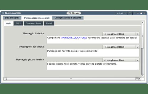 Messaggi differenziati per evento e canale